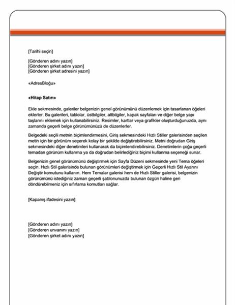 Adres mektup birleştirme mektubu (Hisse Senedi teması)