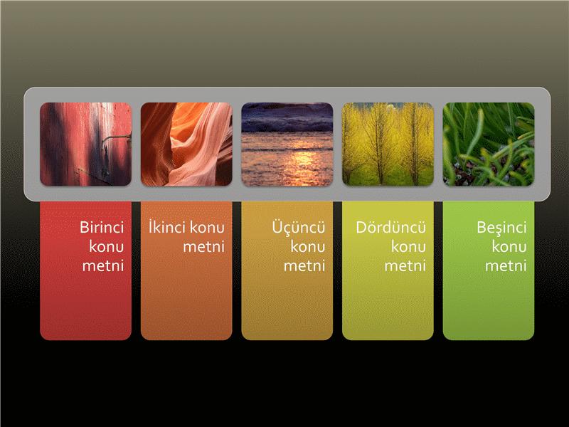 Renkli metin sekmeleri bulunan animasyonlu resim listesi