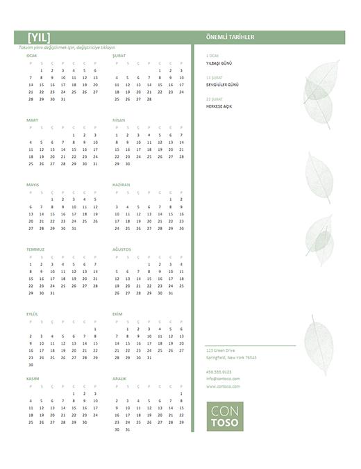 Küçük iş takvimi (herhangi bir yıl, Pzt-Paz)