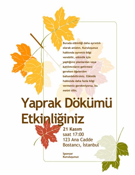 Yaprak dökümü etkinliği el ilanı (yapraklı)
