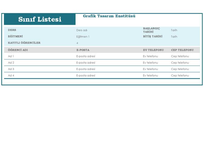 Sınıf listesi