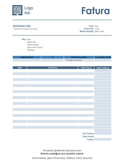 Hizmet faturası (Basit Mavi tasarım)