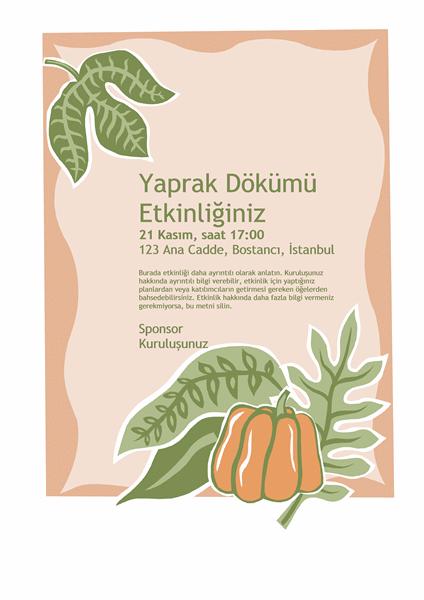 Yaprak dökümü etkinliği el ilanı (balkabaklı)