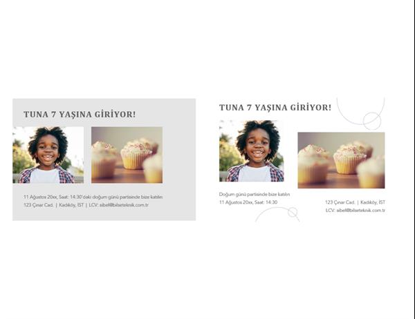 Fotoğraflı doğum günü partisi davetiye kartpostalı (her sayfada 2)