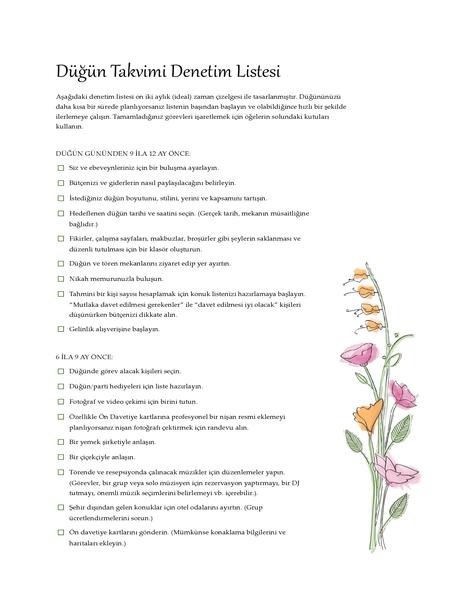 Düğün Kontrol Listesi (sulu boya)