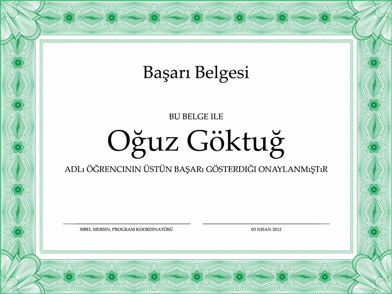 Başarı Belgesi (resmi stilde, yeşil kenarlıklı)