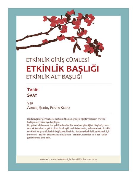 İlkbahar etkinliği el ilanı (çiçek açan dal görüntüsüyle)