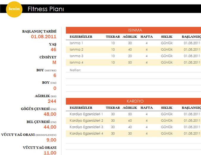 Fitness planı