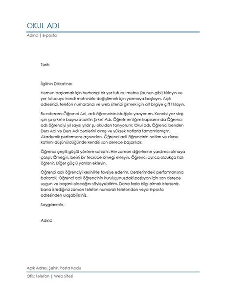 Öğretmenden Referans Mektubu