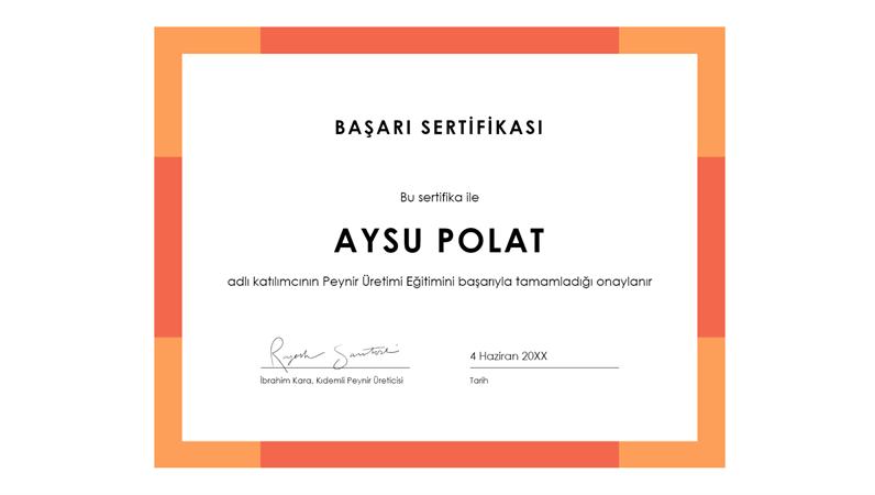 Başarı sertifikası (mavi)