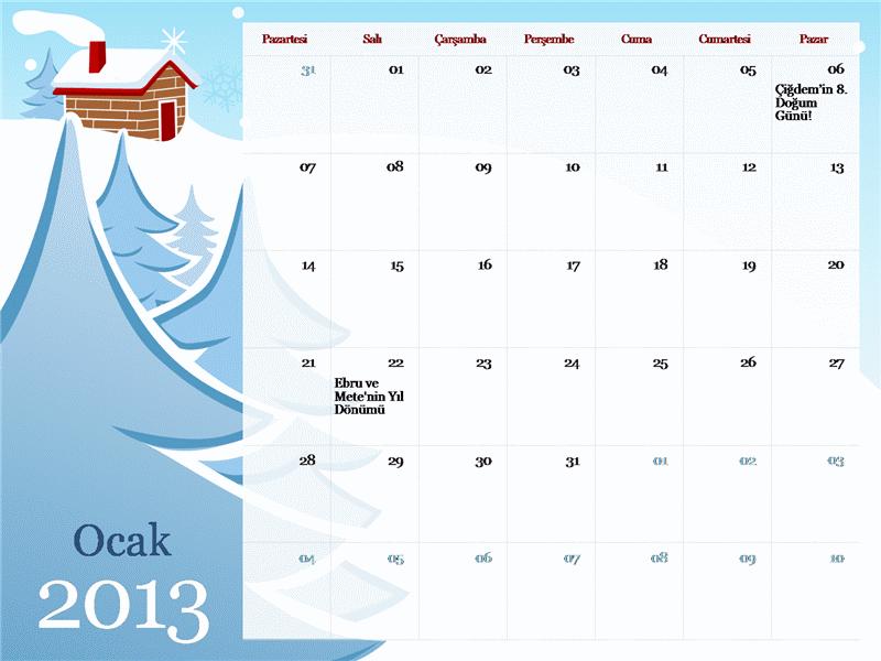 2013 yılı resimli mevsimlik takvimi, Pts-Pzr