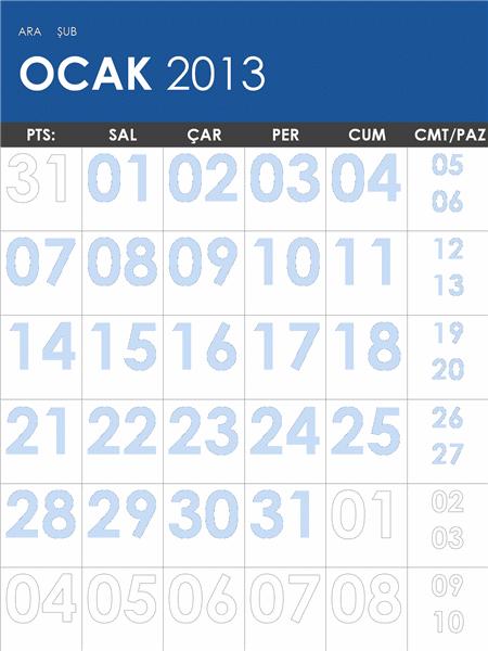 2013-2014 takvimi, renkli (Pzt-Paz)