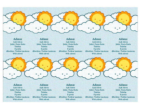 Kişisel kartvizit (sayfa başına 10 adet)