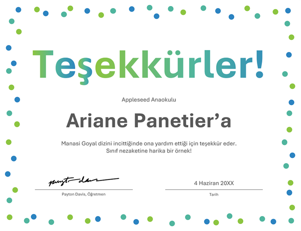 Teşekkür sertifikası