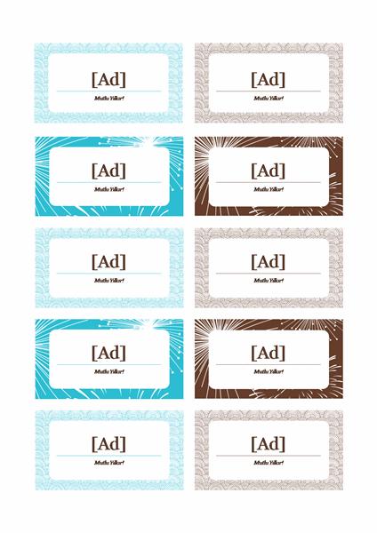 Yeni Yıl partisi için yer kartları (Avery 5371 için)