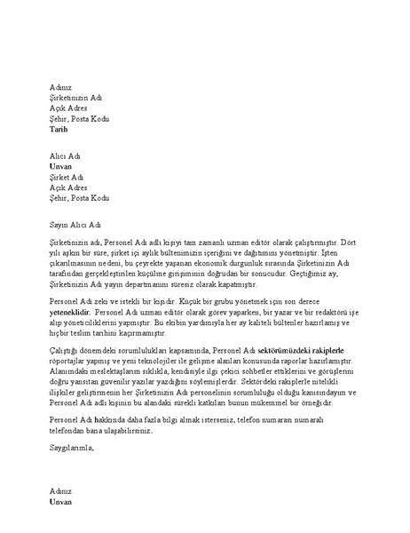 Profesyonel çalışan için referans mektubu