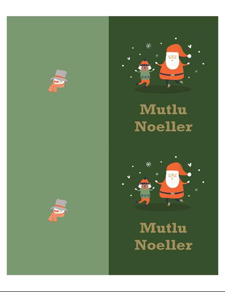 Noel kartları (Noel Ruhu tasarımlı, sayfa başına 2 adet, Avery kağıdı için)