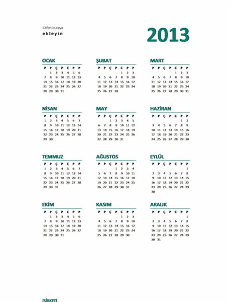 Bir bakışta 2013 takvimi (M-S biçimi)