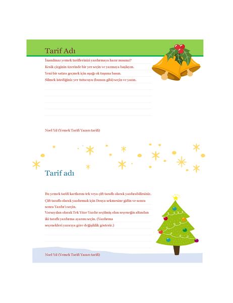 Tarif kartları (Noel Ruhu tasarımlı, sayfa başına 2 adet, Avery 5889 ile uyumlu)