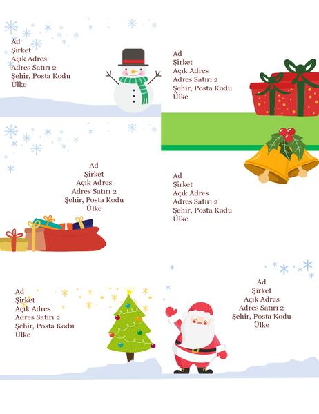Bayramlık adres etiketi (Noel Ruhu tasarımı, sayfa başına 6 adet, Avery 5164 ve benzer düzenlere uygun)