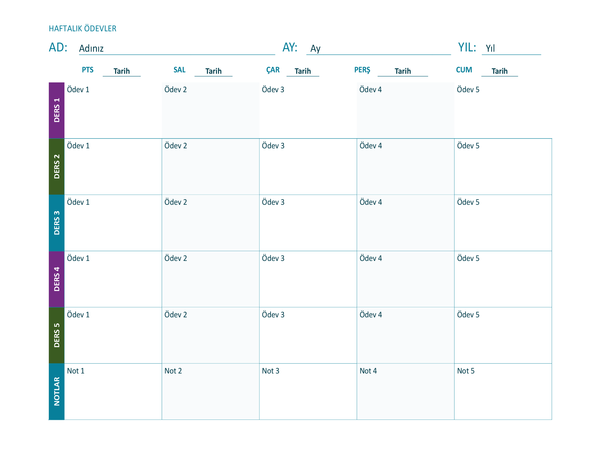 Haftalık ödev çizelgesi (renkli, yatay)
