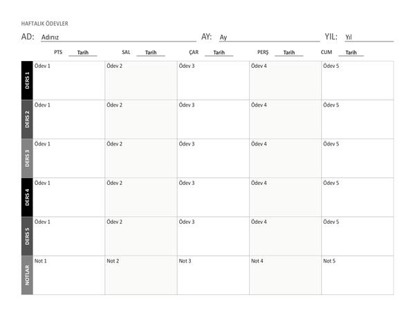 Haftalık ödev çizelgesi (yatay)