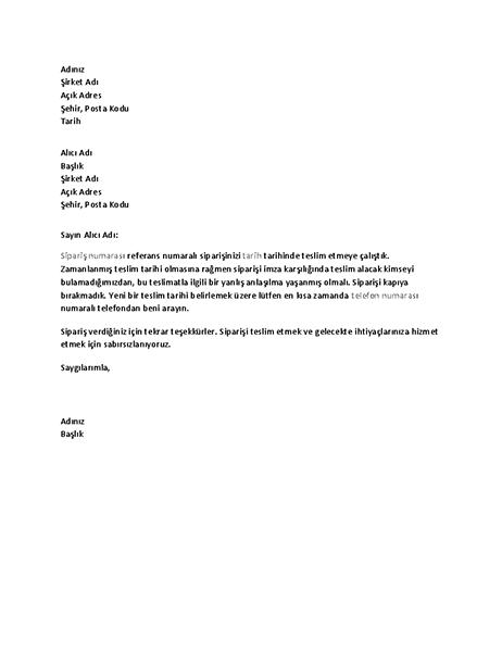 Müşteriye teslimatın gerçekleştirilemediğini bildiren mektup