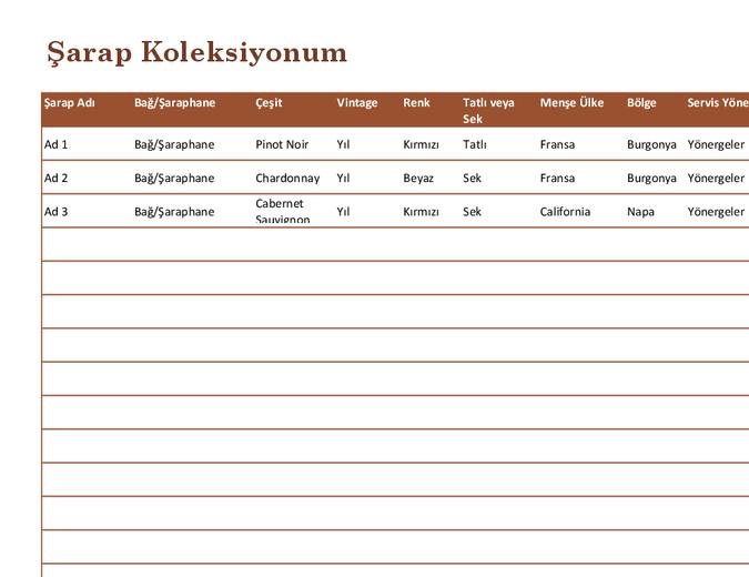 Şarap koleksiyonu listesi
