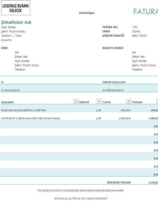 Vade farkı içeren fatura (mavi)