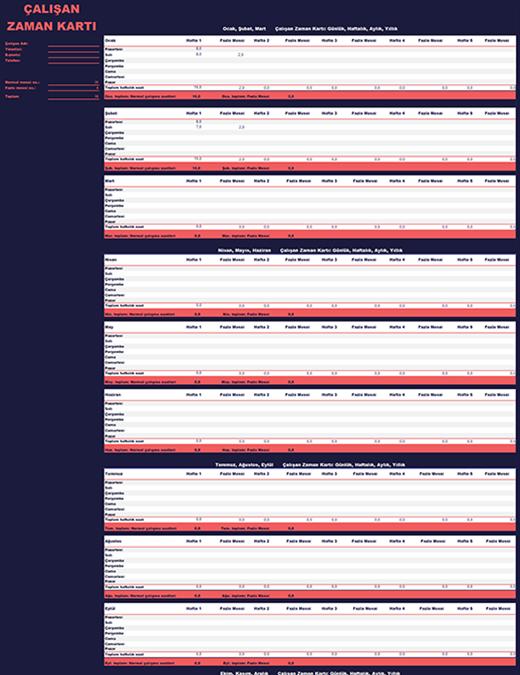 Çalışan zaman çizelgesi (haftalık, aylık, yıllık)