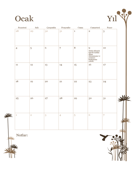 2018 12 aylık takvim (Pzt-Paz)