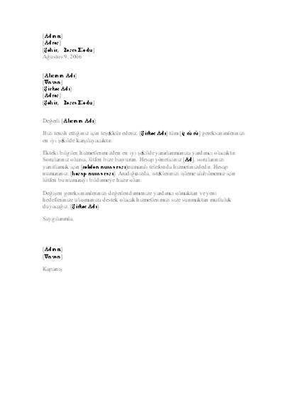 Yeni müşteriye giriş niteliğinde mektup