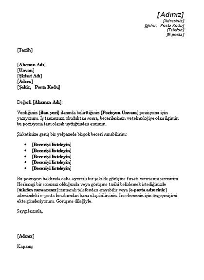 Teknik Pozisyon İlanına Verilen Yanıtın Kapak Mektubu