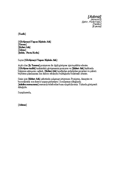 İş Görüşmesi Teşekkür Mektubu