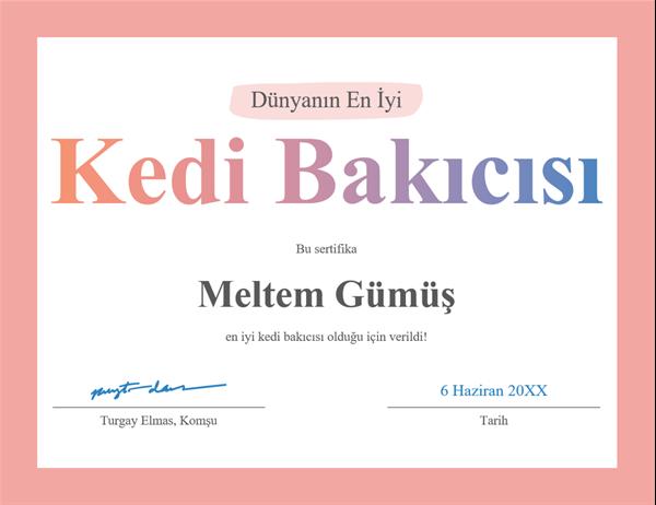 Dünyanın En İyisi ödülü sertifikası