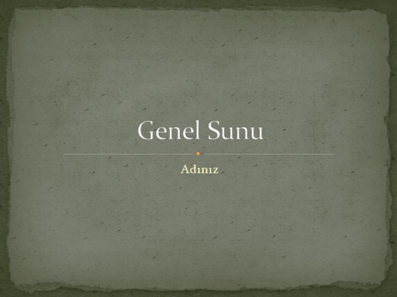Genel Sunu