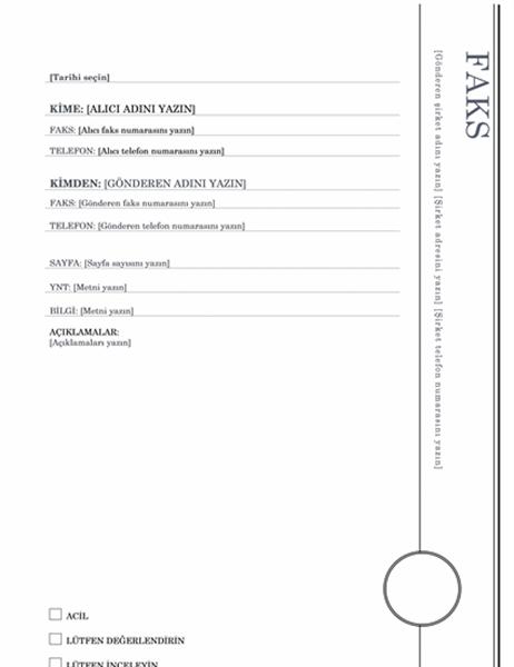 Faks kapak sayfası (Cumba tasarımı)