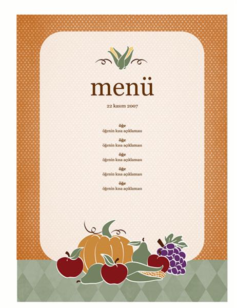 Menü (hasat tasarımı)