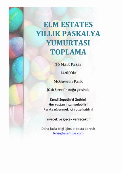 Paskalya yumurtası toplama el ilanı