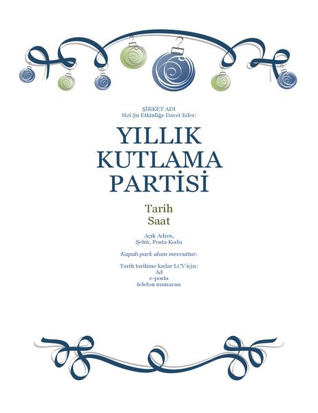 Süslemeli ve mavi kurdeleli tatil partisi el ilanı (Resmi tasarım)
