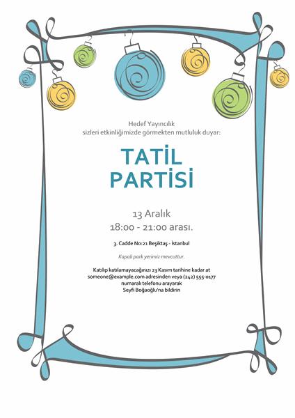 Mavi, yeşil ve sarı süslemeli tatil partisi davetiyesi (Resmi olmayan tasarım)