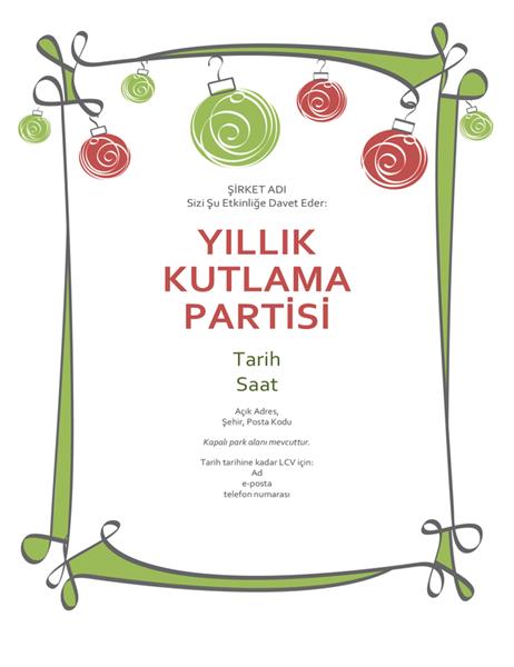 Kırmızı ve yeşil süslemeli tatil partisi davetiyesi (Resmi olmayan tasarım)