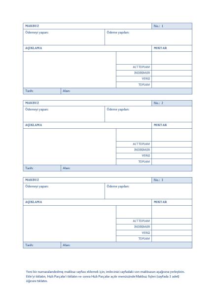 Otomatik Numaralandırmalı Makbuz (Sayfada 3)