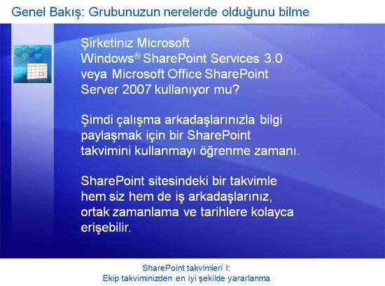 Eğitim sunusu: SharePoint Server 2007—Takvimler I: Ekip takviminizden en iyi şekilde yararlanma