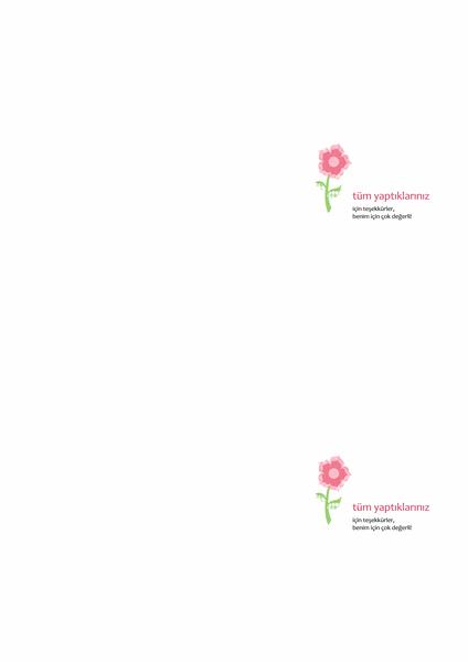 Teşekkür kartı (çiçek tasarımı)