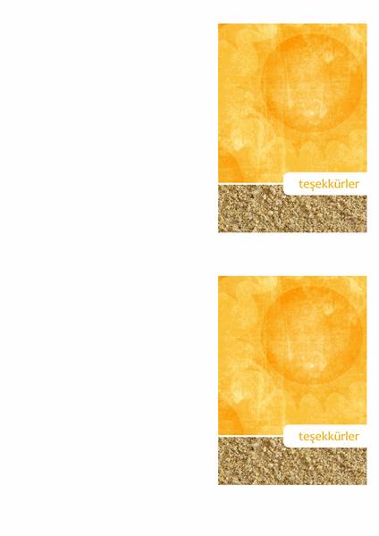 Teşekkür kartı (güneş ve kum tasarımı)