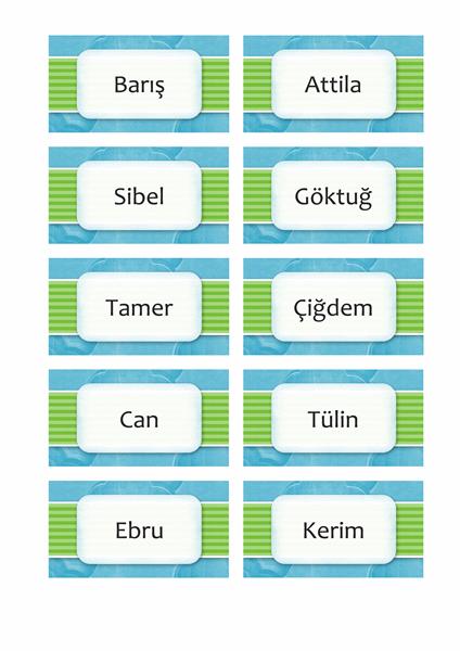 Ad ve yer kartları (bulutlar tasarımı, 10/sf)