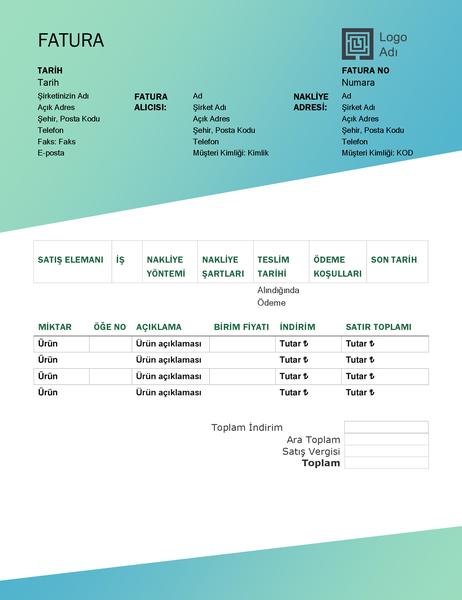 Satış faturası (Yeşil Gradyan tasarım)