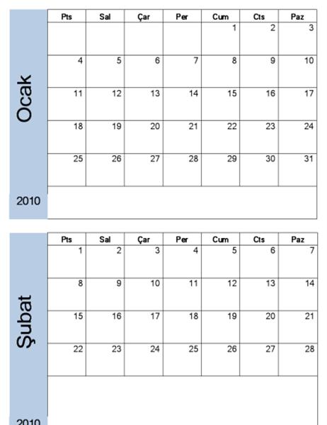 Mavi kenarlıklı 2010 takvimi (6 sayfa)