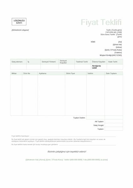 Satış fiyat teklifi (Yeşil tasarım)